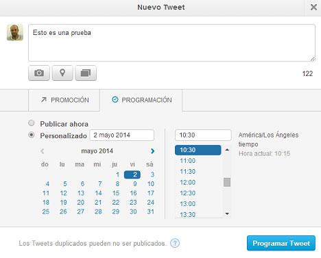 programar tweet twitter