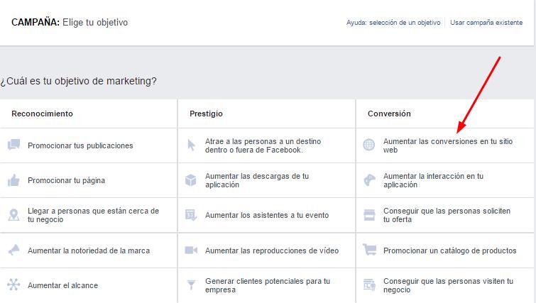 campaña conversiones sitio web facebook