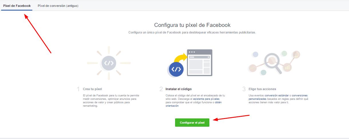 configuracion pixel facebook