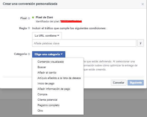 conversion personalizada facebook